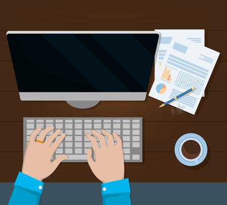 business personal finance desk work elements cartoon vector illustration graphic design