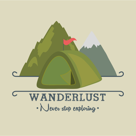 wanderlust label with forest scene and camping tent vector illustration design