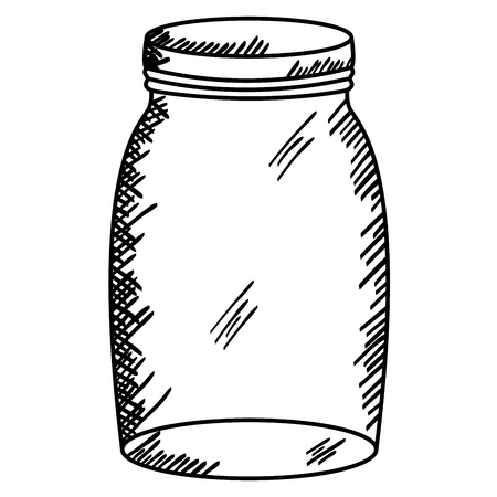 mason jar glass with lid drawing vector illustration design
