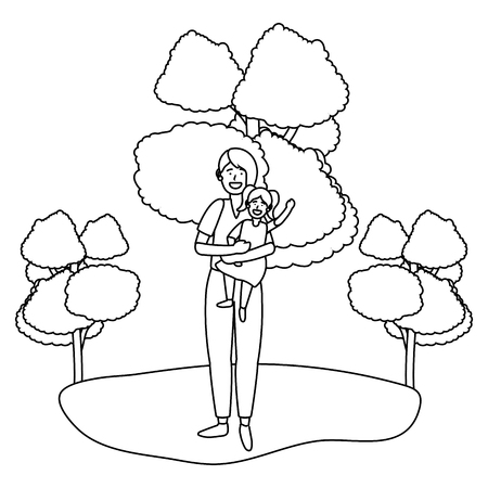 woman with child avatar cartoon character outdoor rural landscape black and white vector illustration graphic design Ilustração