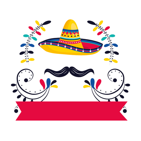 mexican culture festival mexico mariachi hat with moustache ribbon banner cartoon vector illustration graphic design