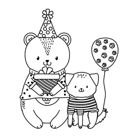 cute little animals at birthday party festive scene cartoon vector illustration graphic design