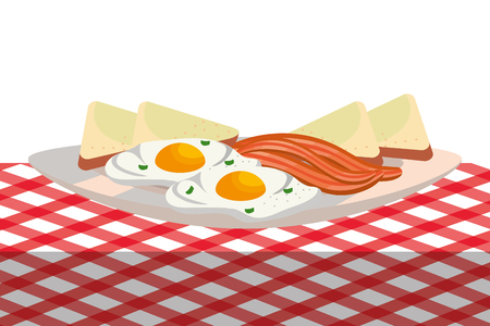 delicious tasty breakfast picnic concept cartoon vector illustration graphic design