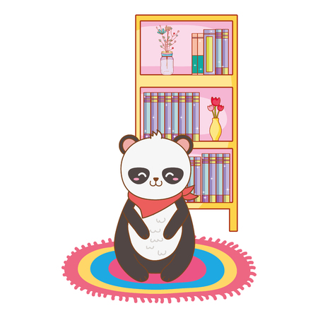 cute little animal panda bear in front library furniture cartoon vector illustration graphic design Illustration