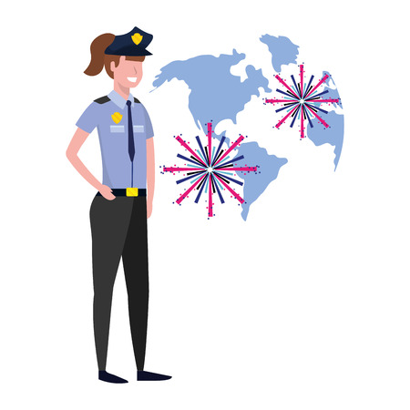 labor day job career police woman with fireworks cartoon vector illustration graphic design
