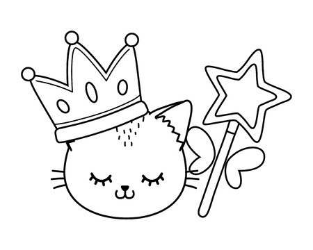 cat with crown and wand icon cartoon black and white vector illustration graphic design
