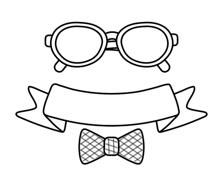 glasses with ribbon and bow tie icon cartoon black and white vector illustration graphic design