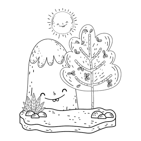 mountain snow and sun kawaii characters vector illustration design Illustration