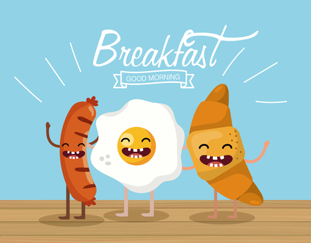 happy sausagges with fried egg and croissant vector illustration Illustration