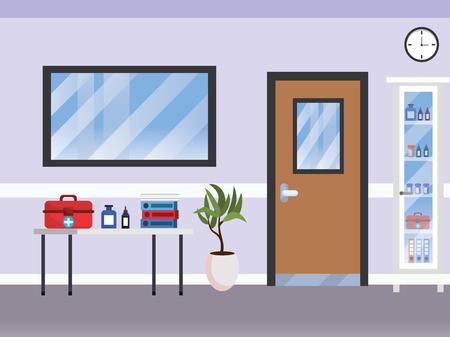 modern furniture scene hospital doctors office cartoon vector illustration graphic design