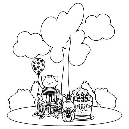 cute adorable animals birthday party outdoor scene festive cartoon vector illustration graphic design Illustration
