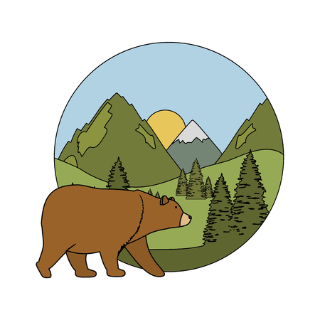 mountains with bear grizzly scene vector illustration design Illustration