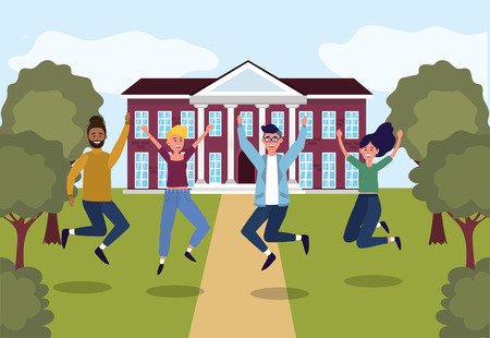 girls and boys jumping in the education university vector illustration Vectores