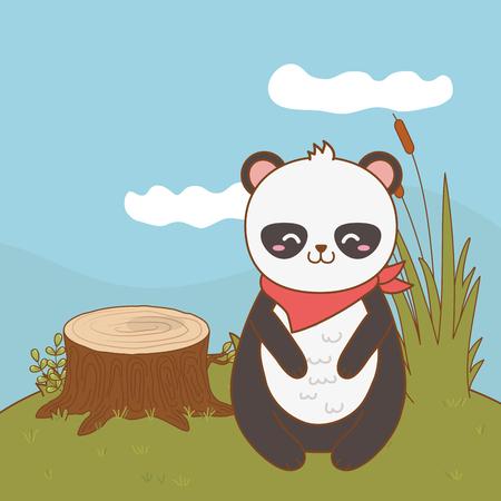 cute little animal panda bear at nature park cartoon vector illustration graphic design