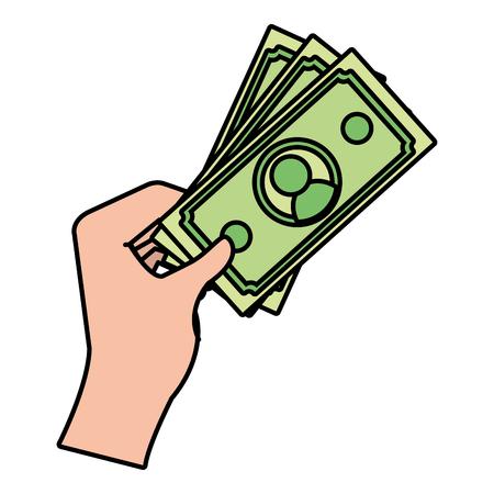 human hand holding cash money bills cartoon vector illustration graphic design Stock Illustratie