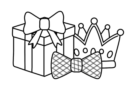 gift box with crown and bow tie icon cartoon black and white vector illustration graphic design
