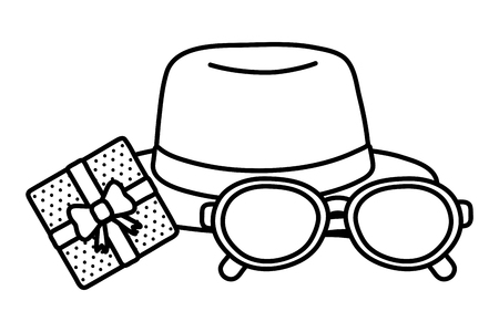 hat with glasses and gift box icon cartoon black and white vector illustration graphic design