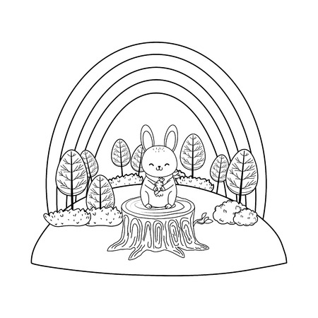 cute rabbit in the field woodland character vector illustration design