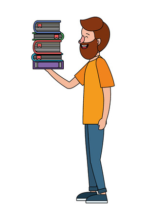 young man holding books cartoon vector illustration graphic design