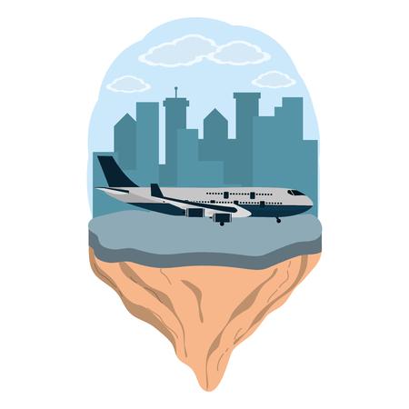 transportation concept airplane in front city landscape cartoon vector illustration graphic design
