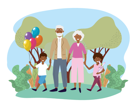 cute grandparents with their happy kids and balloons vector illustration