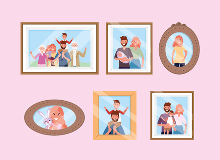 set happy family pictures memories vector illustration