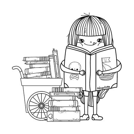 happy little girl reading books with cart vector illustration design