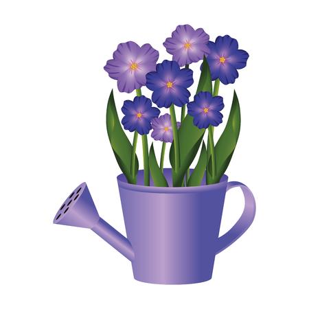 floral tropical flowers inside watering can cartoon vector illustration graphic design Çizim