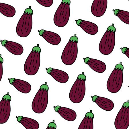 color healthy eggplant fresh vegetable background vector illustration Ilustrace