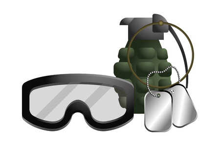 military goggles with grenade and dog tag plate icon cartoon vector illustration graphic design