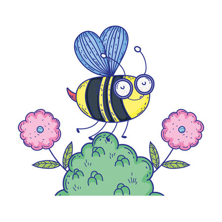 beautiful bee flying in the landscape vector illustration design