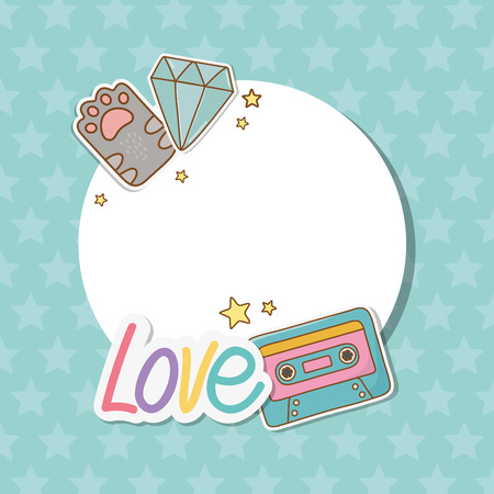 circular frame with stickers kawaii vector illustration design
