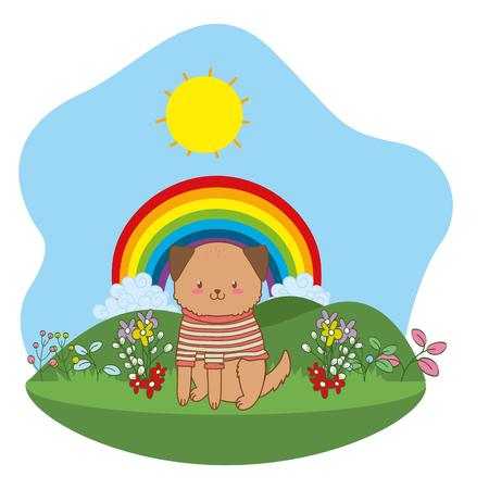 cute little animal dog at nature park cartoon vector illustration graphic design  イラスト・ベクター素材