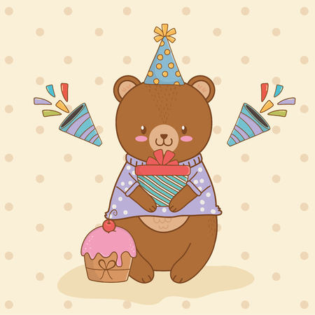 birthday card with cute bear teddy woodland vector illustration design Illustration