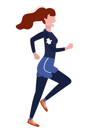 woman running with sportswear avatar cartoon character vector illustration graphic design