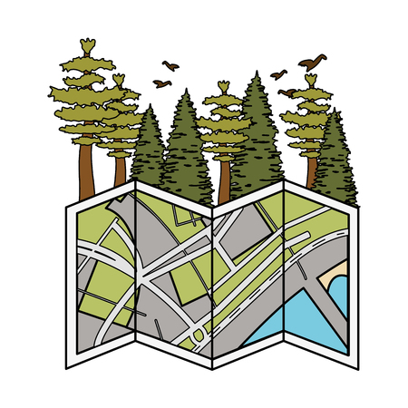 pines trees forest scene with paper map vector illustration design Ilustração