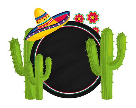 festival de la cultura mexicana elementos de méxico icono redondo de dibujos animados ilustración vectorial diseño gráfico Ilustración de vector