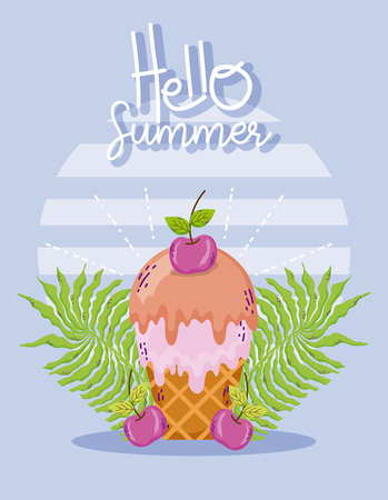 Hello summer with ice cream and cherries vector illustration graphic design