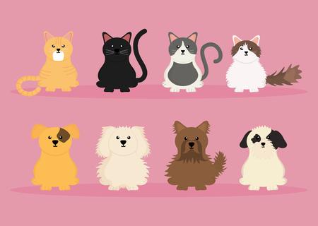 Grupo de lindos personajes de mascotas, diseño de ilustraciones vectoriales Ilustración de vector