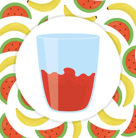 fresh juice fruits in glass vector illustration design