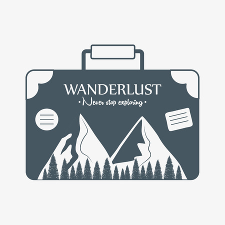 wanderlust label with forest scene in suitcase vector illustration design