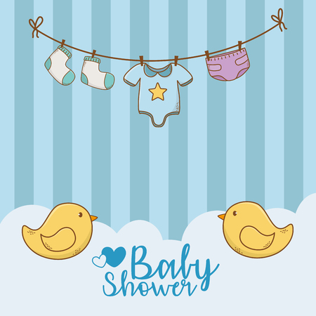 baby shower card with accessories hanging vector illustration design