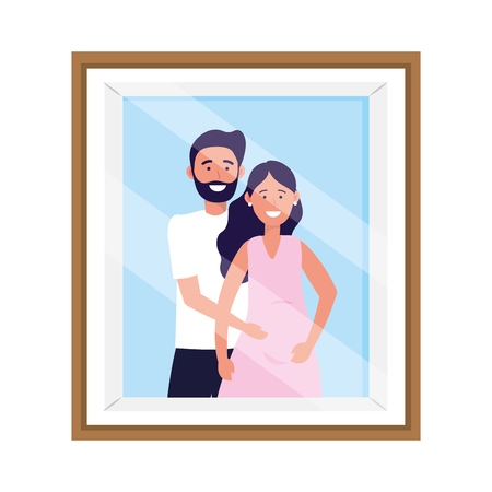 pregnant couple avatar cartoon character photo frame vector illustration graphic design Vectores