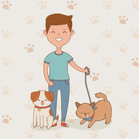 young man with cute dogs mascots vector illustration design