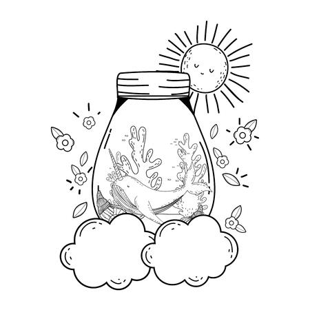 cute narval in mason jar in clouds vector illustration design Illustration
