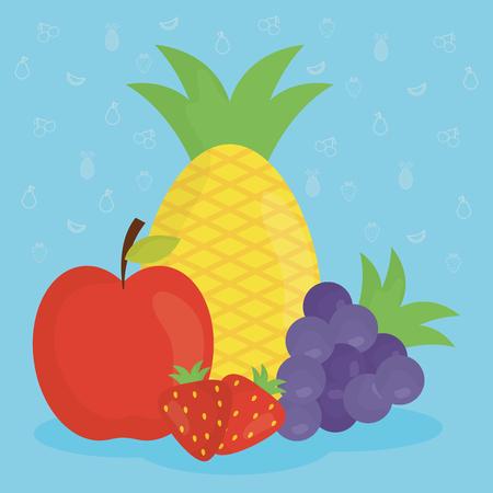 group of fresh fruits vector illustration design