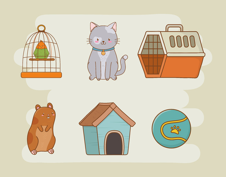 mascot care set icons vector illustration design