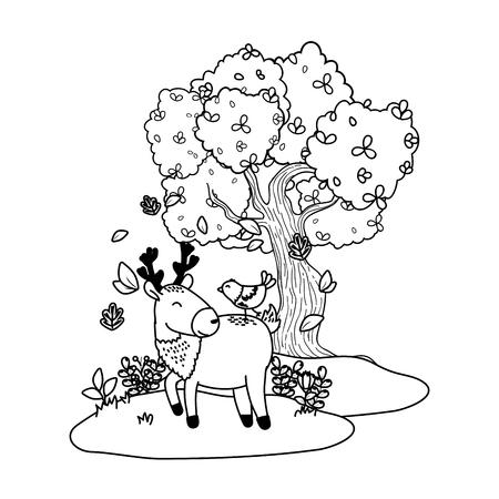 cute littles animals at nature environment cartoon vector illustration graphic design Ilustração Vetorial