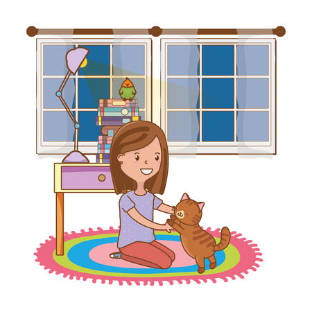 childhood happy child girl with cute little pet animal inside room with furniture cartoon vector illustration graphic design Standard-Bild - 123220860