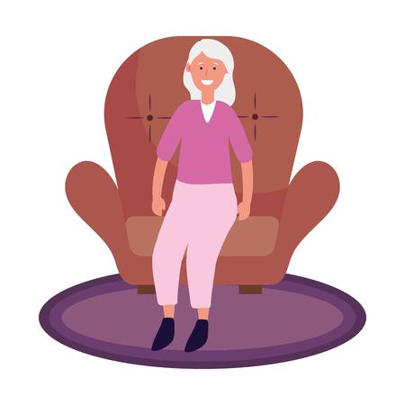 old woman avatar cartoon character sitting vector illustration graphic design 向量圖像